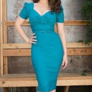 Pinup girl Clothing Erin dress (teal) 2x